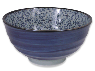 6-1/4 Inch Rustic Dark Green, Blue, and Cream Karakusa Japanese Donburi Bowl