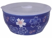 6-1/8 Inch Medium Blue and White Cherry Blossom Bowl With Lid