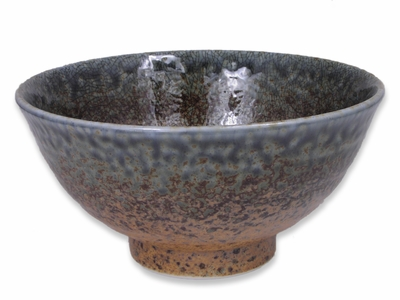 6-1/8 Inch Pale Blue and Earthen Sand Crackle Japanese Bowl