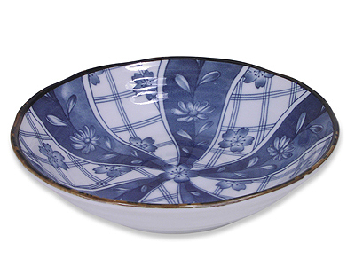 6-3/4 Inch Blooming Blue and White Cherry Blossom Bowl
