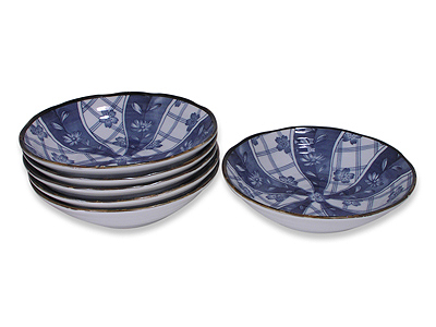 6-3/4 Inch Blooming Blue and White Japanese Ceramic Bowls Set for Six