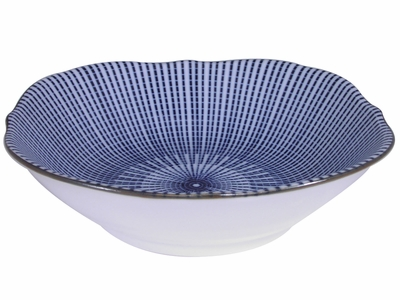6-3/8 Inch Blue and White Parasol Illusion Small Japanese Serving Bowl