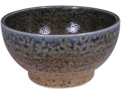 6-5/8 Inch Pale Blue and Earthen Crackled Sand Ramen Soup Bowl