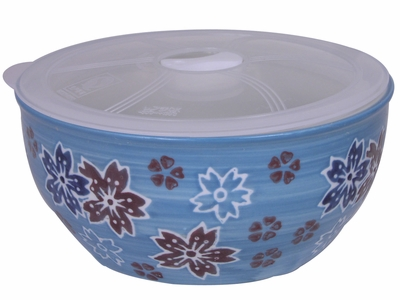 6 Inch Medium Sky Blue Cherry Blossom Bowl with Lid