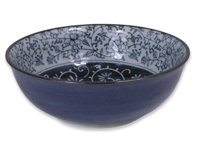6 Inch Rustic Dark Green, Blue, and Cream Karakusa Small Japanese Bowl