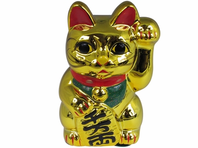 6 Inch Shiny Golden Japanese Lucky Cat Bank