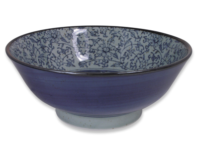 7-1/2 Inch Rustic Dark Green, Blue, and Cream Karakusa Japanese Noodle Bowl