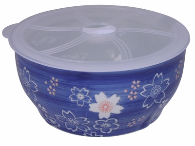 7-1/4 Inch Large Blue and White Cherry Blossom Bowl With Lid