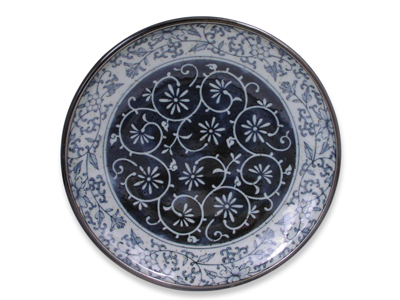 7-1/4 Inch Rustic Dark Green, Blue, and Cream Karakusa Japanese Salad Plate