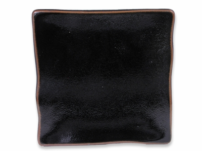 7-1/8 Inch Earthen Black and Brown Japanese Square Plate