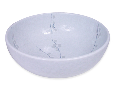 7-5/8 Inch Minimalist White Cherry Blossom Bowl Made in Japan