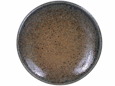 7-5/8 Inch Pale Blue and Earthen Crackled Sand Japanese Dinnerware Appetizer Plate