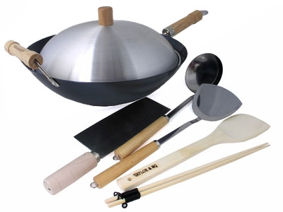7 Piece 14 Inch Double Handle Pre-Seasoned Flat Bottom Wok Set