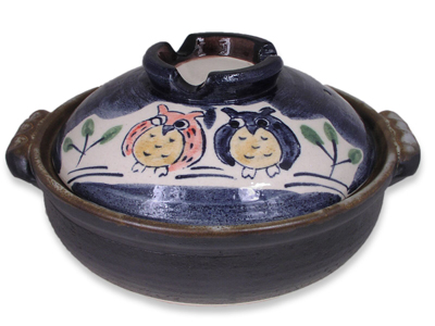 8-1/2 Inch Owl Family Japanese Nabe Pot