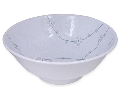 8-1/4 Inch Minimalist White Cherry Blossom Asian Noodle Bowl