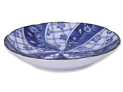 8-7/8 Inch Blooming Blue and White Cherry Blossom Dish
