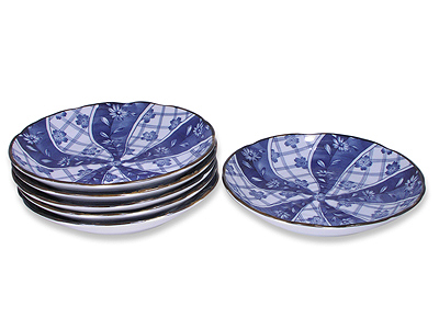 8-7/8 Inch Blooming Blue and White Japanese Plate Set for Six