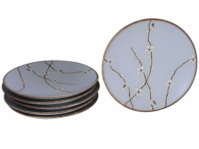 8-7/8 Inch Japanese Cherry Blossom Plates Set of Six