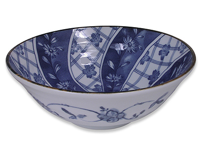 8 Inch Blooming Blue and White Cherry Blossom Noodle Bowl