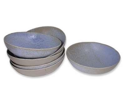 Large Arctic Ice Abalone Japanese Ceramic Bowls Set for Six