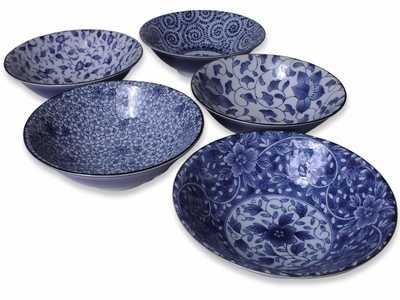 8 Inch Floral Fantasy Blue and White Japanese Bowls Set for Five