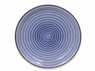 9-1/2 Inch Blue and White Modern Spiral Japanese Plate