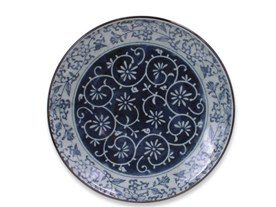 9-1/2 Inch Rustic Dark Green Blue and Cream Karakusa Japanese Dinner Plate  sc 1 st  Mrs. Linu0027s Kitchen & 9-1/2 Inch Rustic Dark Green Blue and Cream Karakusa Japanese ...