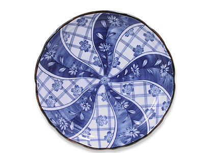 9-3/4 Inch Blooming Blue and White Cherry Blossom Dinner Plate