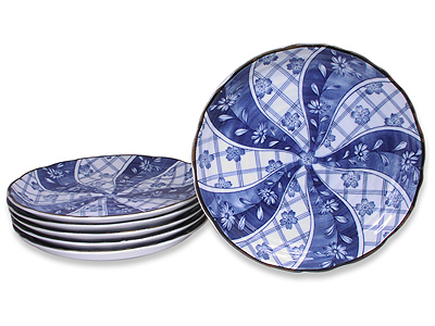 9-3/4 Inch Blooming Blue and White Japanese Dinner Plate Set for Six