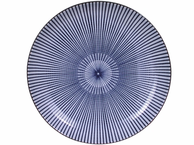 9-5/8 Inch Blue and White Japanese Parasol Illusion Japanese Dinnerware Shallow Plate