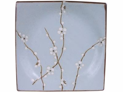 9 Inch Square Japanese Cherry Blossom Plate