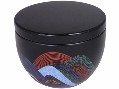 Abstract Colored Waves and Patterns Japanese Tea Tin