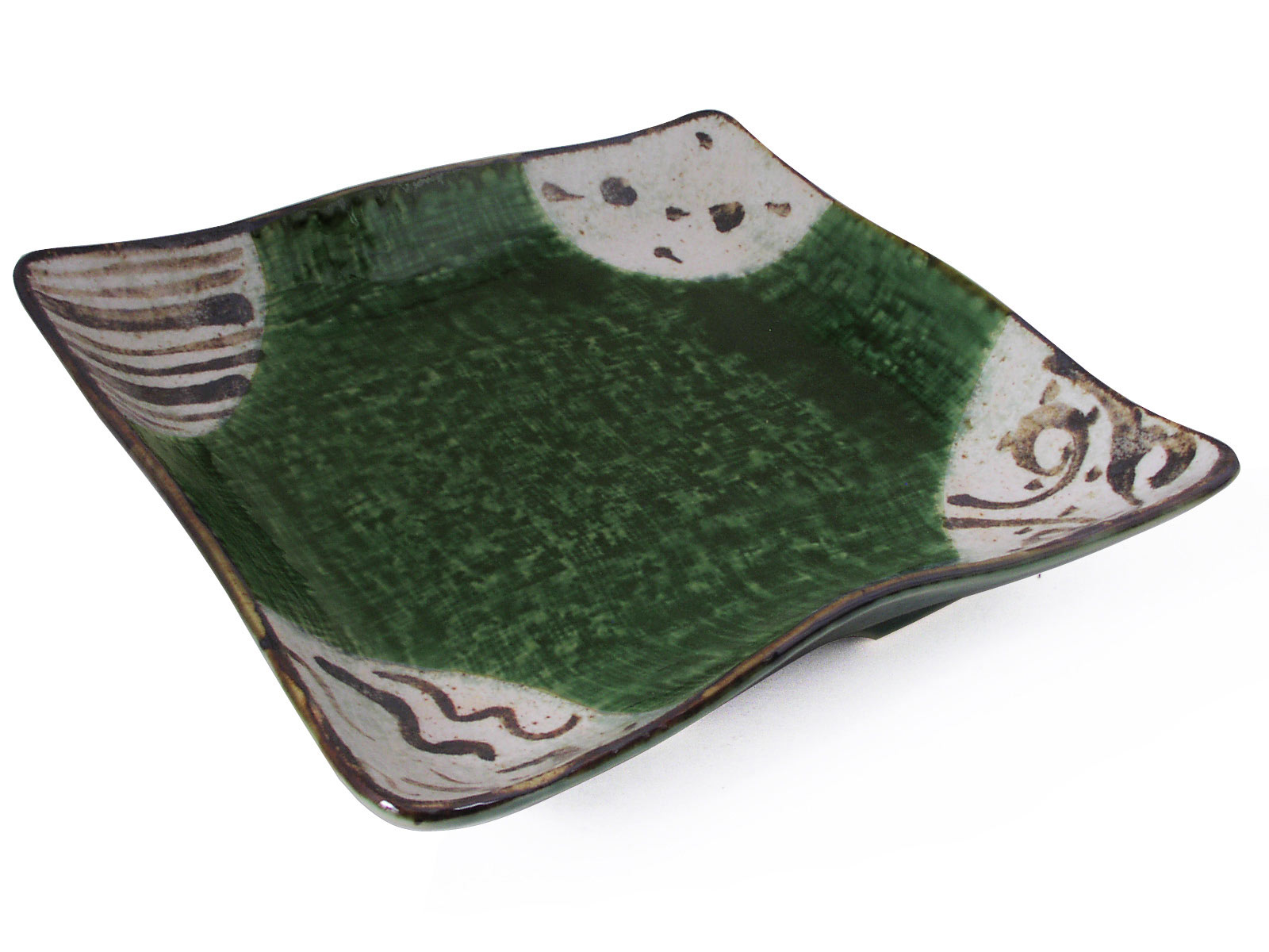 Abstract Sunlit Forest Oribe Ware Japanese Serving Dish