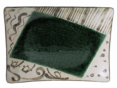 Abstract Sunlit Forest Oribe Ware Collection Oribe Rectangular Plate