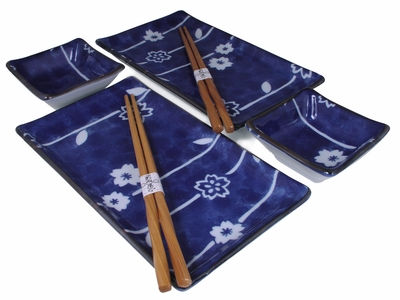 Abstract Vertical Cherry Blossom Branches on Blue Sushi Serving Set for Two