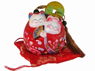 Adorable Bride and Groom Good Luck Cat Coin Bank