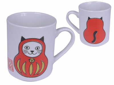 Adorable Daruma and Lucky Cat Tea Cup
