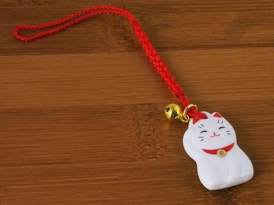 Adorable Japanese White Lucky Cat Charm