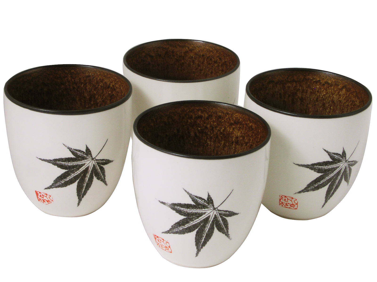 Kitchen Canisters Ceramic Amber Glow Japanese Maple Oriental Tea Cups Set For Four