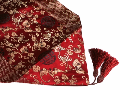 Auspicious Red Buddha's Hand Floral Asian Style Table Runner