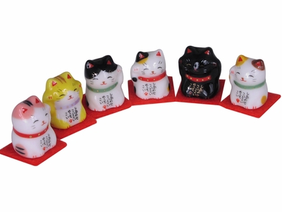 Beckoning Japanese Lucky Cat Miniature Good Luck Charm (One Cat Only)