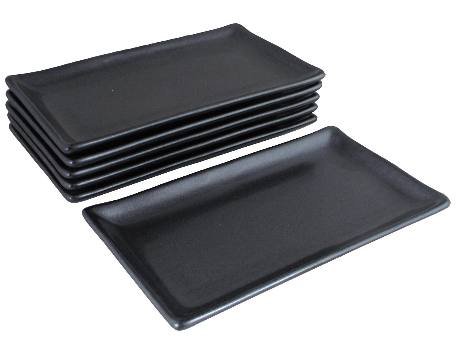 Black Alloy Collection Modern Rectangular Asian Plates Set