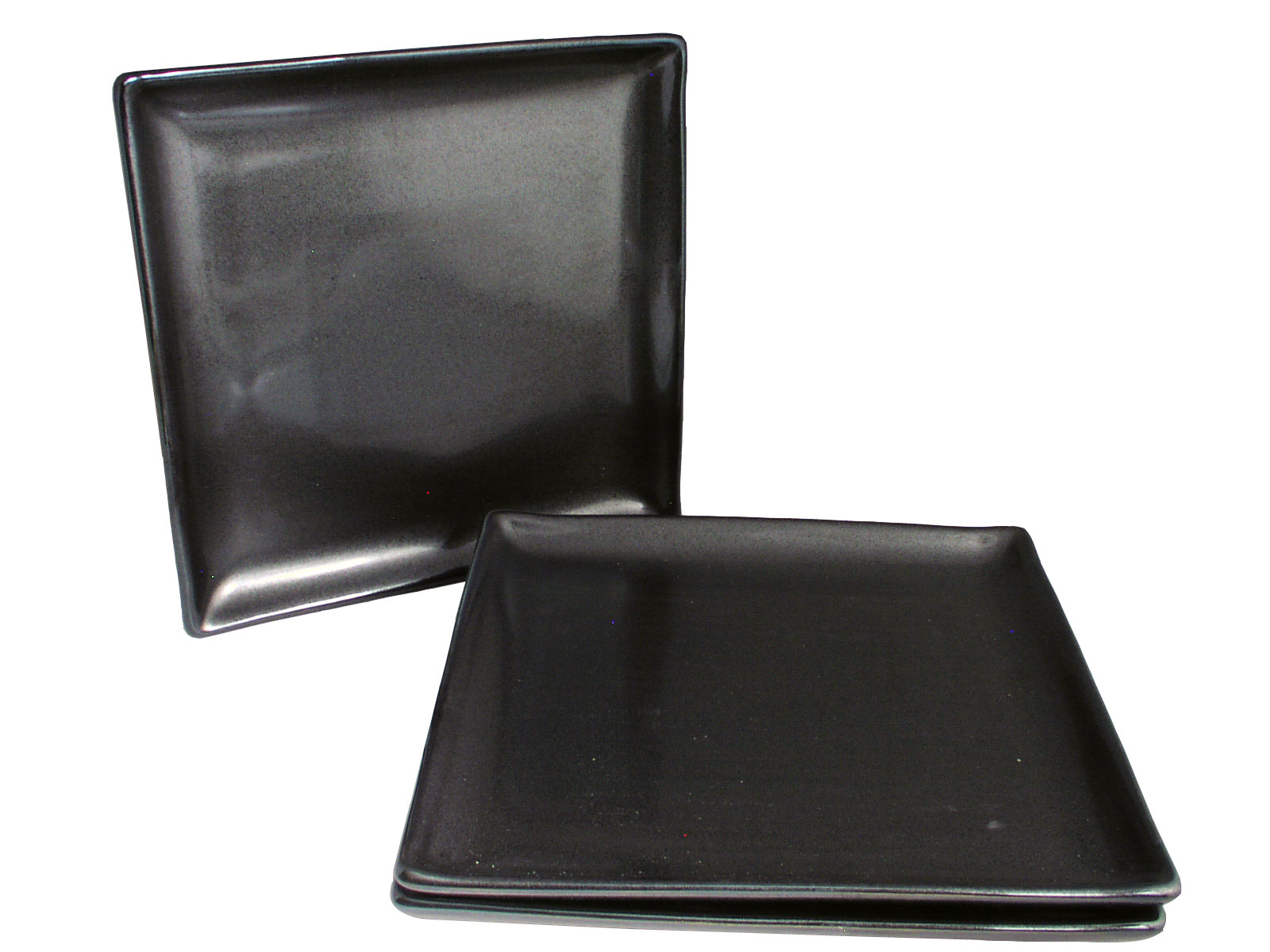 Black Alloy Collection Square Japanese Dinner Plates Set