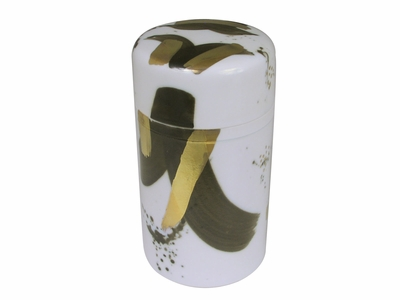 Black and Gold Brush Strokes Porcelain Japanese Tea Container