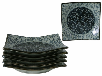 Rustic Dark Green, Blue and Cream Karakusa Asian Dishware Plate Set of Six
