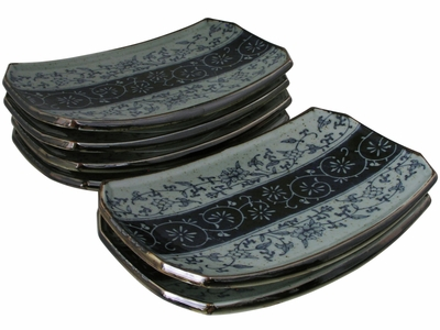 Rustic Dark Green, Blue and Cream Karakusa Japanese Sushi Plates Set for  Six