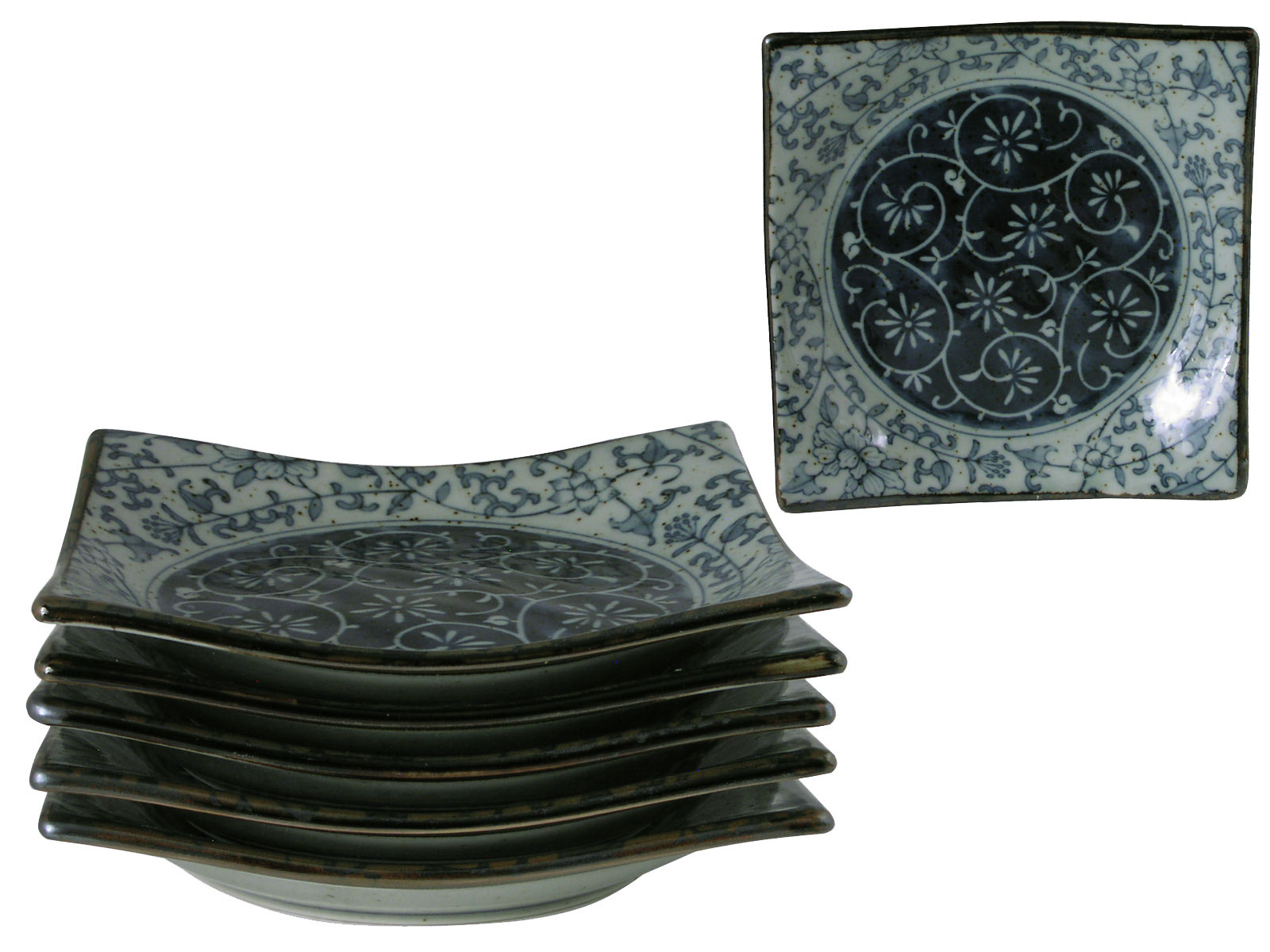 sc 1 st  Mrs. Linu0027s Kitchen & Rustic Dark Green Blue and Cream Oriental Dinnerware Plates for Six