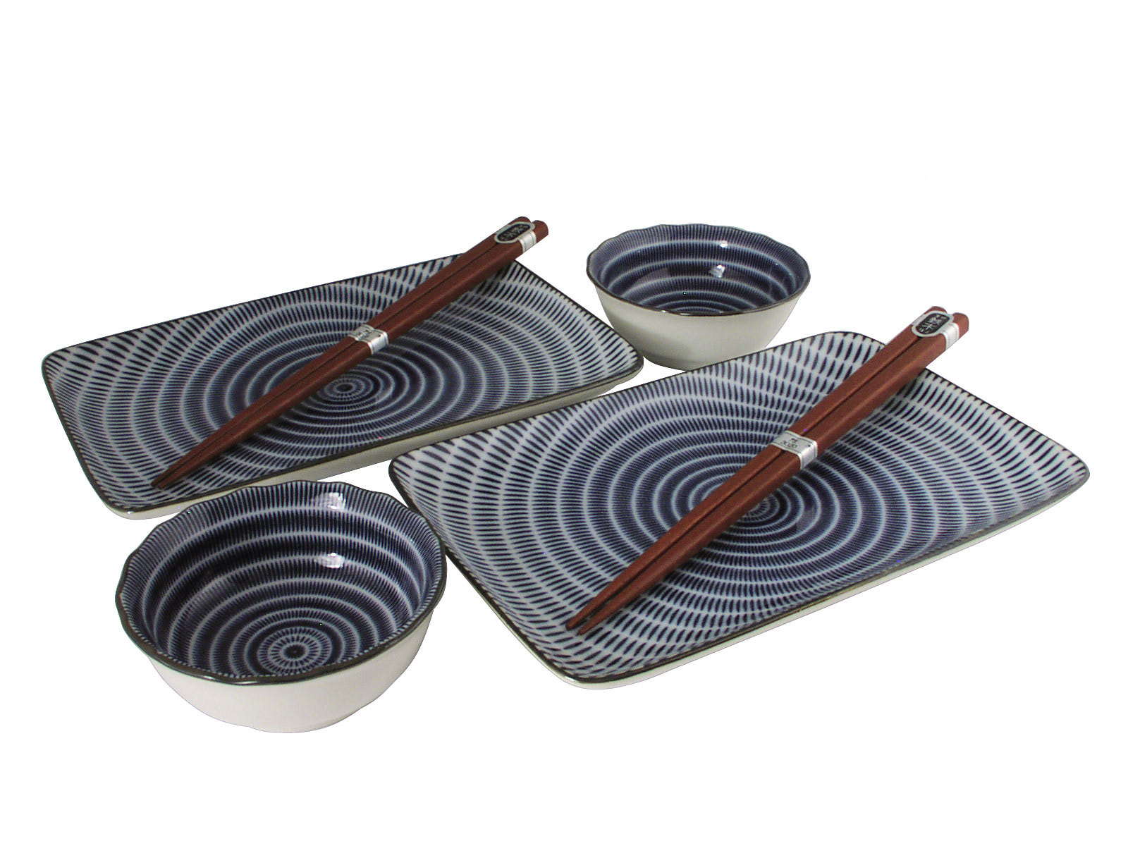 sc 1 st  Mrs. Lin\u0027s Kitchen & Blue and White Modern Spiral Asian Dinnerware Set