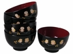 Black, Red, and Gold Owl Trio Japanese Miso Soup Bowl Set for Five