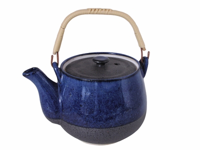 Blended Shades Matte Black and Shiny Blue Japanese Ceramic Teapot